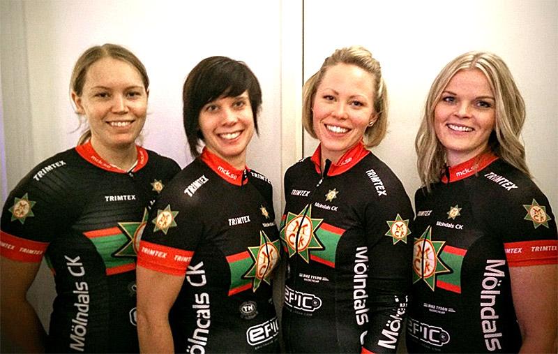 MCK Damelit 2016 är (fr vänster): Malin Svärd, Moa Johansson, Jeanette Arbjörk och Kristina Gårdman. Carla Winkler och Hanna Helamb saknas på bilden. -